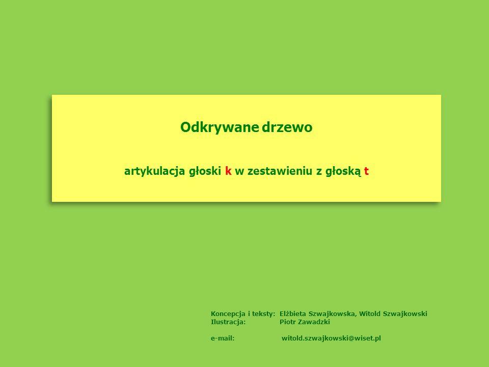 Odkrywane drzewo artykulacja głoski k w zestawieniu z głoską t Odkrywane drzewo artykulacja głoski k w zestawieniu z głoską t Koncepcja i teksty: Elżb