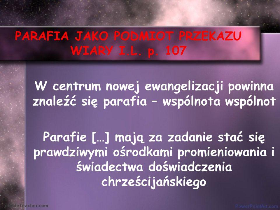 PARAFIA JAKO PODMIOT PRZEKAZU WIARY I.L. p. 107 W centrum nowej ewangelizacji powinna znaleźć się parafia – wspólnota wspólnot Parafie […] mają za zad