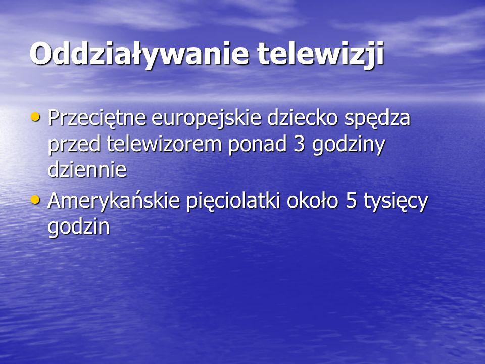 Oddziaływanie telewizji Przeciętne europejskie dziecko spędza przed telewizorem ponad 3 godziny dziennie Przeciętne europejskie dziecko spędza przed t