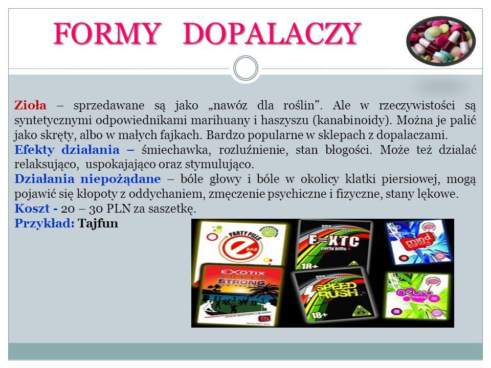 FORMY DOPALACZY Sole – sprzedawane są jako biały proszek, odpowiednik amfetaminy.