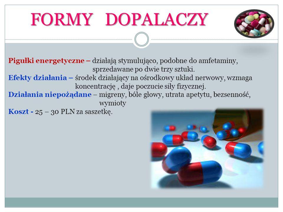 FORMY DOPALACZY Pigułki energetyczne – działają stymulująco, podobne do amfetaminy, sprzedawane po dwie trzy sztuki. Efekty działania – środek działaj