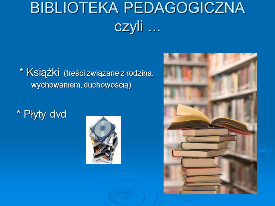 BIBLIOTEKA PEDAGOGICZNA czyli... BIBLIOTEKA PEDAGOGICZNA czyli... * Książki (treści związane z rodziną, * Książki (treści związane z rodziną, wychowan