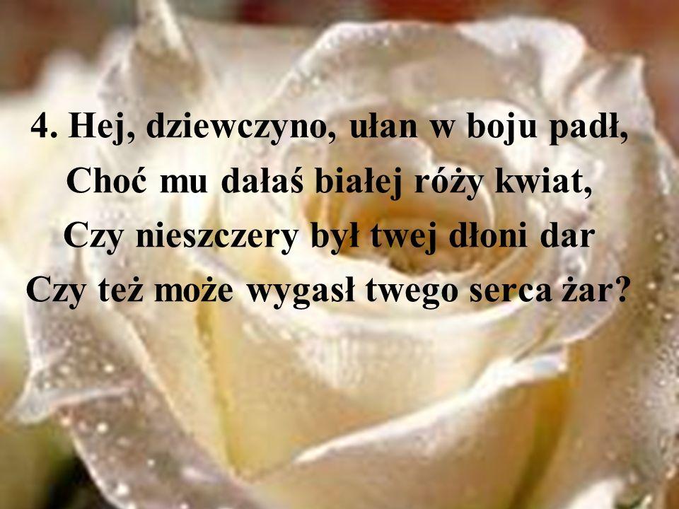4. Hej, dziewczyno, ułan w boju padł, Choć mu dałaś białej róży kwiat, Czy nieszczery był twej dłoni dar Czy też może wygasł twego serca żar?