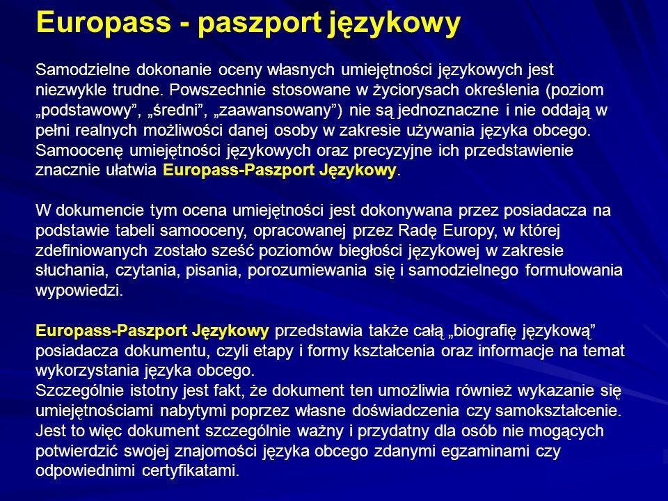Europass - paszport językowy Samodzielne dokonanie oceny własnych umiejętności językowych jest niezwykle trudne. Powszechnie stosowane w życiorysach o