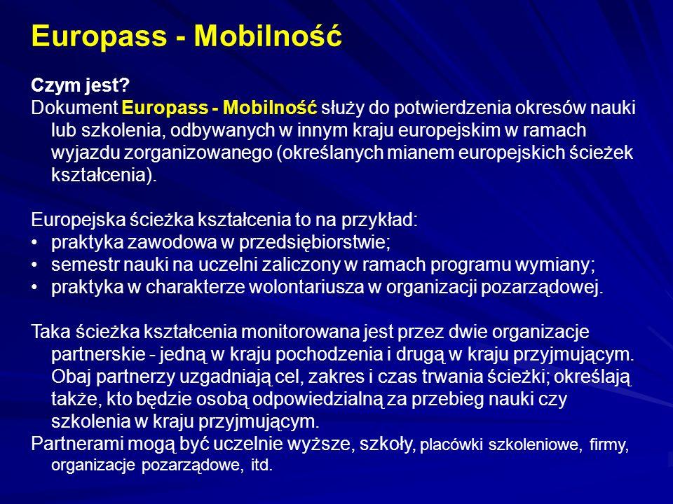 Europass - Mobilność Czym jest? Dokument Europass - Mobilność służy do potwierdzenia okresów nauki lub szkolenia, odbywanych w innym kraju europejskim