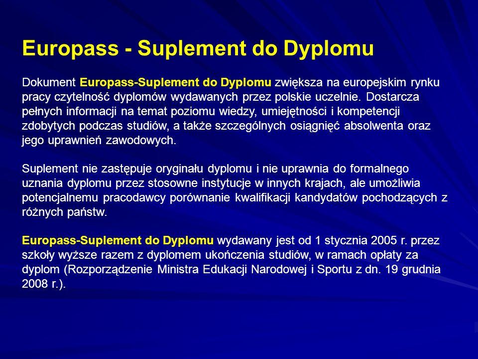 Europass - Suplement do Dyplomu Dokument Europass-Suplement do Dyplomu zwiększa na europejskim rynku pracy czytelność dyplomów wydawanych przez polskie uczelnie.