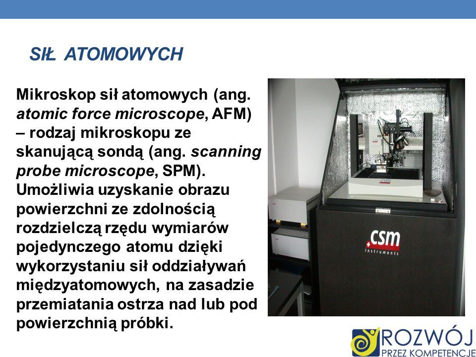 SIŁ ATOMOWYCH Mikroskop sił atomowych (ang. atomic force microscope, AFM) – rodzaj mikroskopu ze skanującą sondą (ang. scanning probe microscope, SPM)