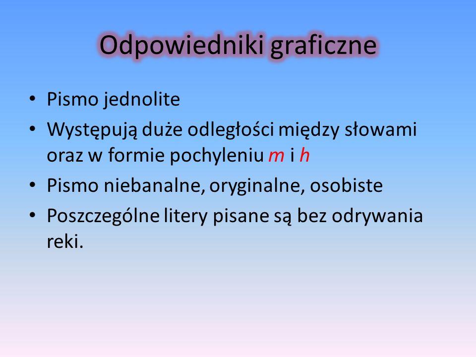 Pismo jednolite Występują duże odległości między słowami oraz w formie pochyleniu m i h Pismo niebanalne, oryginalne, osobiste Poszczególne litery pis