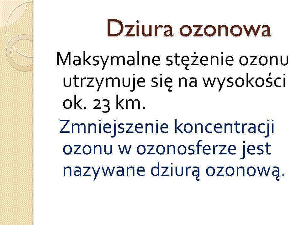 Dziura ozonowa Dziura ozonowa Maksymalne stężenie ozonu utrzymuje się na wysokości ok. 23 km. Zmniejszenie koncentracji ozonu w ozonosferze jest nazyw