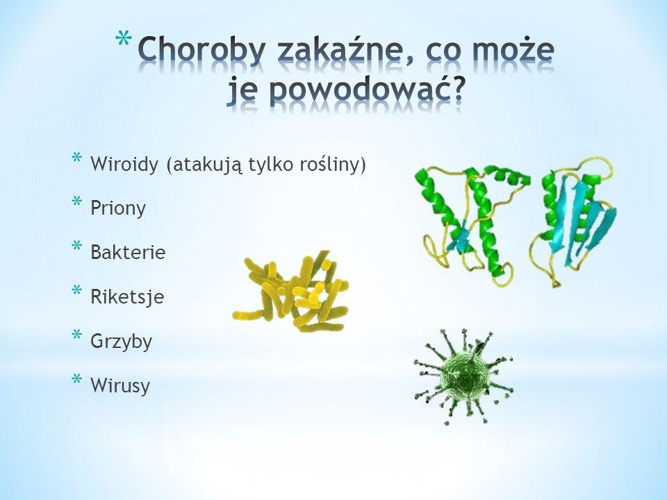 * Wiroidy (atakują tylko rośliny) * Priony * Bakterie * Riketsje * Grzyby * Wirusy