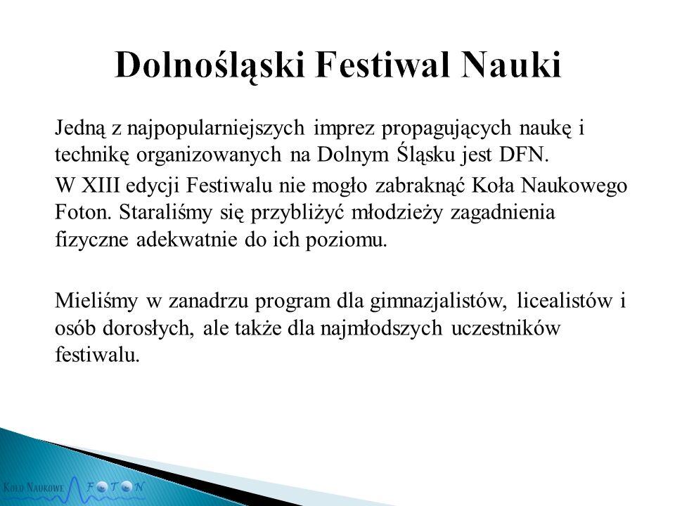 Jedną z najpopularniejszych imprez propagujących naukę i technikę organizowanych na Dolnym Śląsku jest DFN.