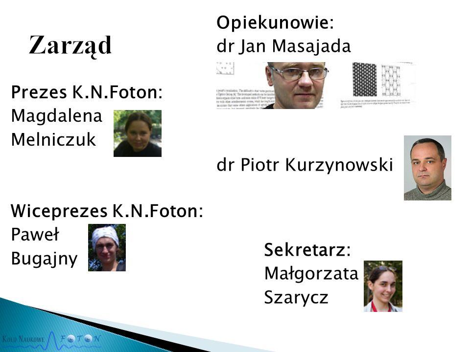 Prezes K.N.Foton: Magdalena Melniczuk Wiceprezes K.N.Foton: Paweł Bugajny Opiekunowie: dr Jan Masajada dr Piotr Kurzynowski Sekretarz: Małgorzata Szarycz
