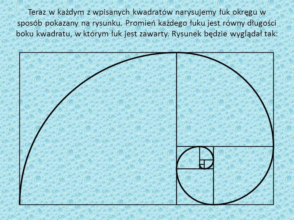 Teraz w każdym z wpisanych kwadratów narysujemy łuk okręgu w sposób pokazany na rysunku. Promień każdego łuku jest równy długości boku kwadratu, w któ