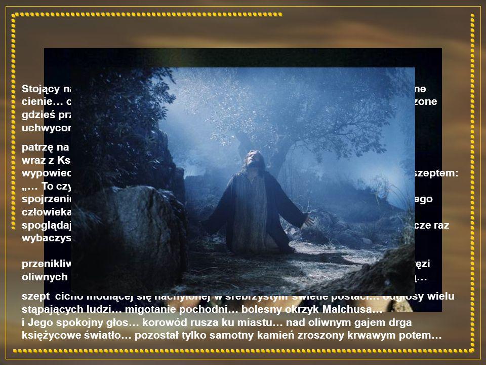 Stojący na granacie nieba Księżyc w pełni… tańczące wśród drzew niewyraźne cienie… cichy szept… oparta o kamień sylwetka pochylonej postaci… wpatrzone gdzieś przed siebie mądre, szczere oczy… przesuwają się przed nimi obrazy uchwyconych w czasie chwil… patrzę na nie wraz z Nim… wraz z Księżycem wypełnia się czas… porwany i coraz go mniej… wypowiedziane niedawno słowa zapisane na wieki… dokończone dobitnym szeptem: … To czyńcie na moją pamiątkę… spojrzenie, które mówi tak wiele… kątem oka łapiemy spłoszony wzrok niskiego człowieka o imieniu Juda z Kerijoth… po chwili odgłos szybkich kroków… spoglądając w siebie, we własną nicość, pytam cicho: Panie, czy Ty mi jeszcze raz wybaczysz?… przenikliwe spojrzenie mądrych oczu… cisza… odpowiada mi tylko szum gałęzi oliwnych drzew Gethsemanii… powietrze zdaje się drgać złowrogą tajemnicą… szept cicho modlącej się nachylonej w srebrzystym świetle postaci… odgłosy wielu stąpających ludzi… migotanie pochodni… bolesny okrzyk Malchusa… i Jego spokojny głos… korowód rusza ku miastu… nad oliwnym gajem drga księżycowe światło… pozostał tylko samotny kamień zroszony krwawym potem…