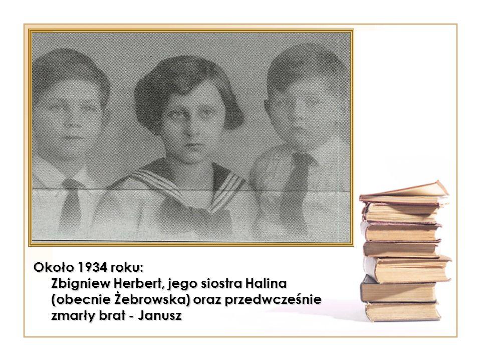 Około 1934 roku: Zbigniew Herbert, jego siostra Halina (obecnie Żebrowska) oraz przedwcześnie zmarły brat - Janusz