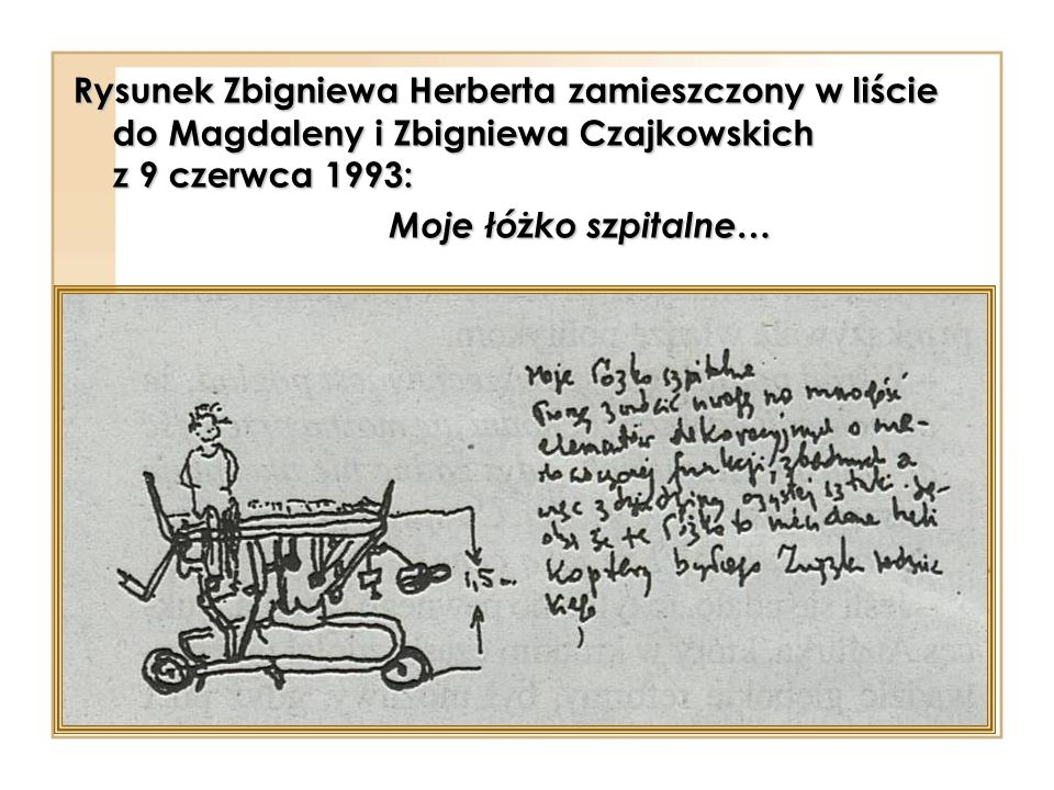 Rysunek Zbigniewa Herberta zamieszczony w liście do Magdaleny i Zbigniewa Czajkowskich z 9 czerwca 1993: Moje łóżko szpitalne…