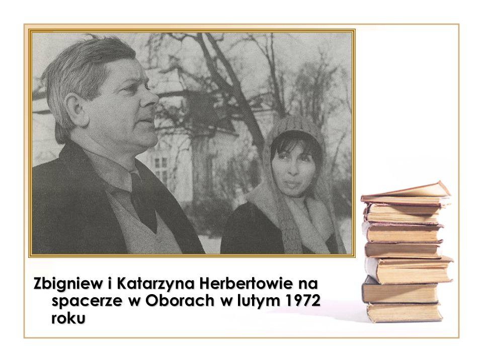 Zbigniew i Katarzyna Herbertowie na spacerze w Oborach w lutym 1972 roku