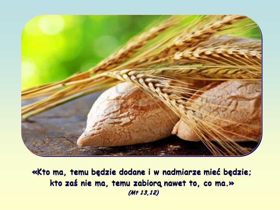 «Kto ma, temu będzie dodane i w nadmiarze mieć będzie; kto zaś nie ma, temu zabiorą nawet to, co ma.» (Mt 13,12)