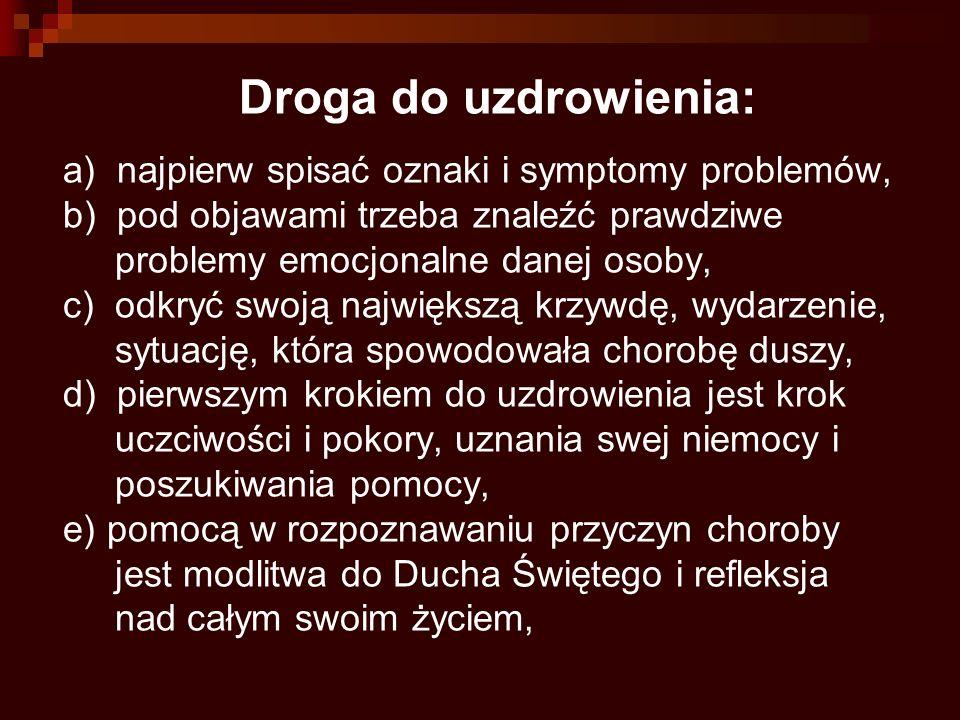 Droga do uzdrowienia: a) najpierw spisać oznaki i symptomy problemów, b) pod objawami trzeba znaleźć prawdziwe problemy emocjonalne danej osoby, c) od