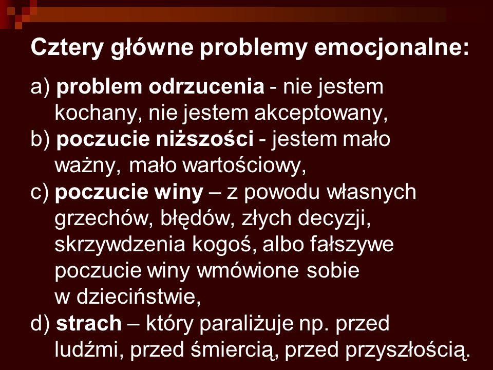 Cztery główne problemy emocjonalne: a) problem odrzucenia - nie jestem kochany, nie jestem akceptowany, b) poczucie niższości - jestem mało ważny, mał