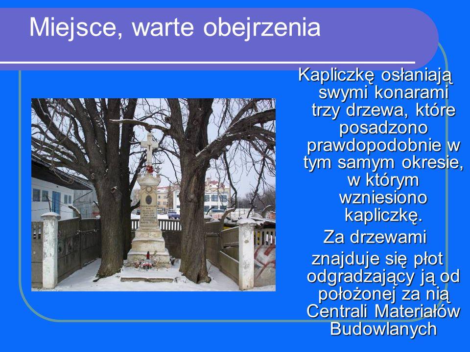 Miejsce, warte obejrzenia Kapliczkę osłaniają swymi konarami trzy drzewa, które posadzono prawdopodobnie w tym samym okresie, w którym wzniesiono kapl