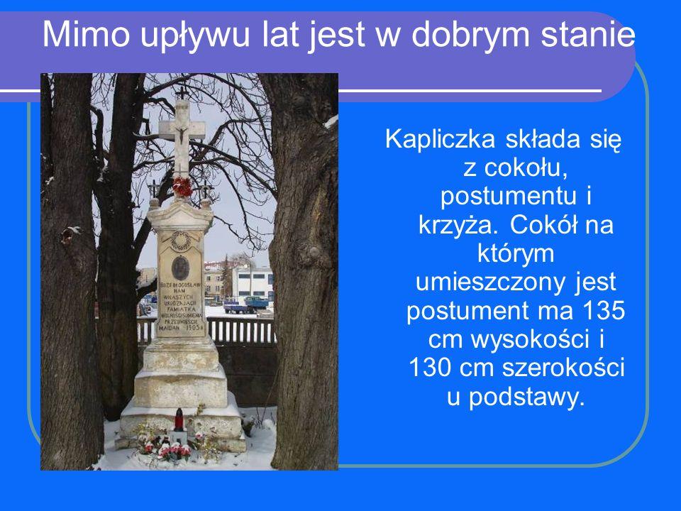 Mimo upływu lat jest w dobrym stanie Kapliczka składa się z cokołu, postumentu i krzyża. Cokół na którym umieszczony jest postument ma 135 cm wysokośc