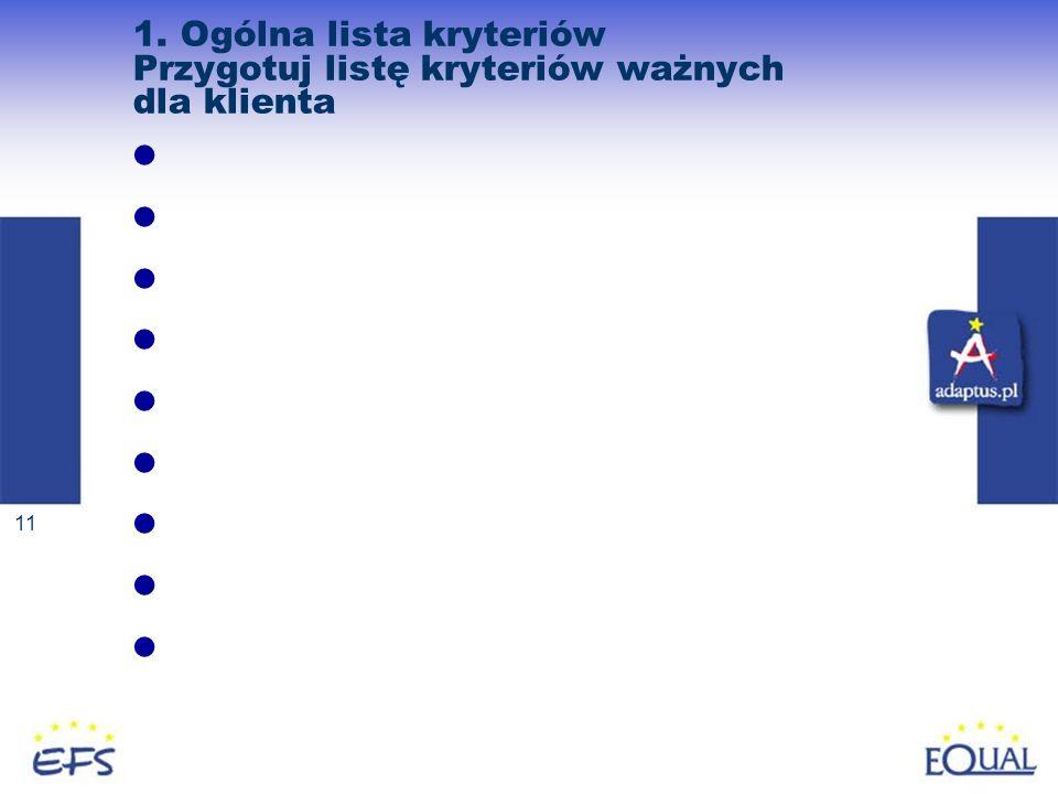 11 1. Ogólna lista kryteriów Przygotuj listę kryteriów ważnych dla klienta