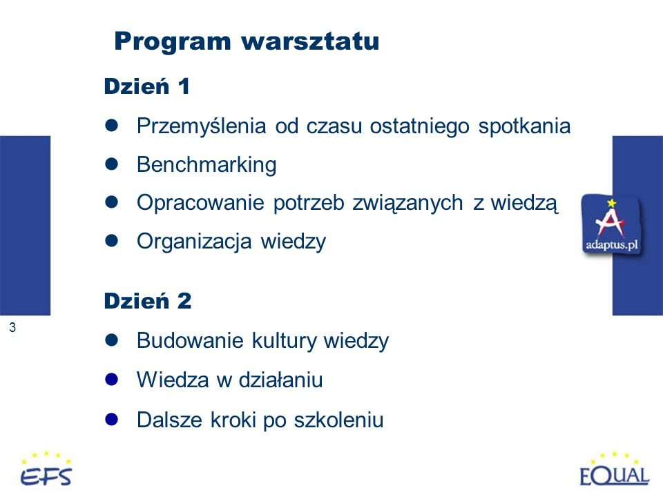 3 Program warsztatu Dzień 1 Przemyślenia od czasu ostatniego spotkania Benchmarking Opracowanie potrzeb związanych z wiedzą Organizacja wiedzy Dzień 2 Budowanie kultury wiedzy Wiedza w działaniu Dalsze kroki po szkoleniu