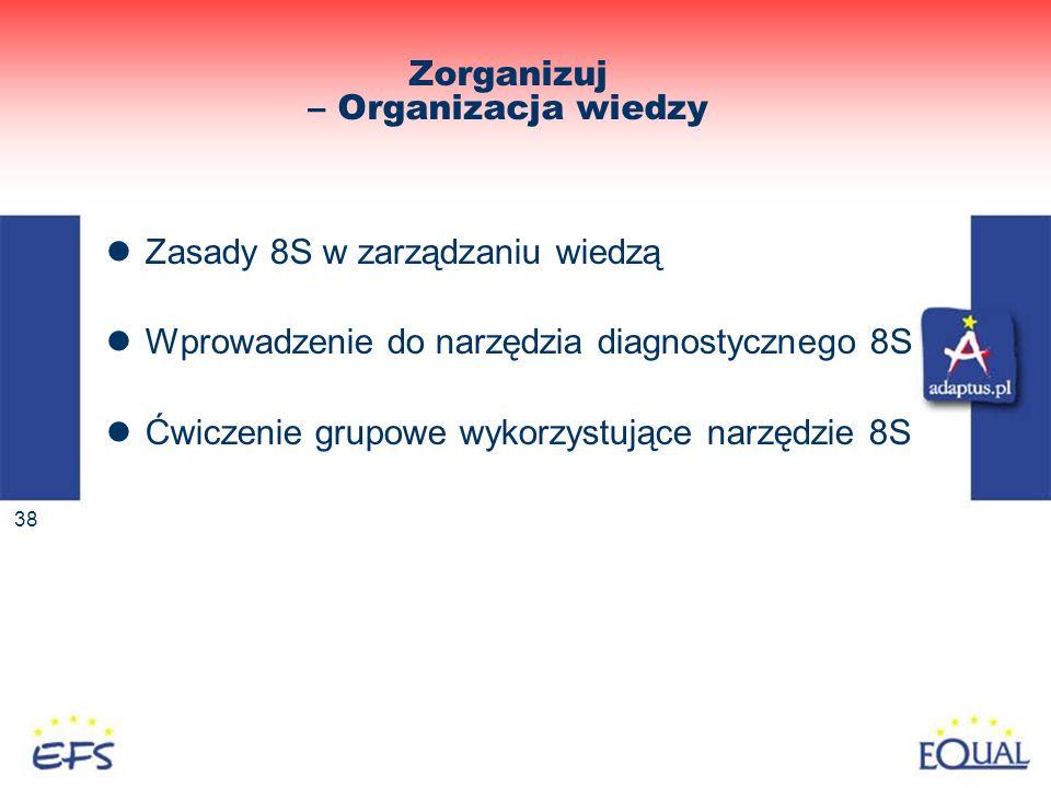 38 Zorganizuj – Organizacja wiedzy Zasady 8S w zarządzaniu wiedzą Wprowadzenie do narzędzia diagnostycznego 8S Ćwiczenie grupowe wykorzystujące narzęd
