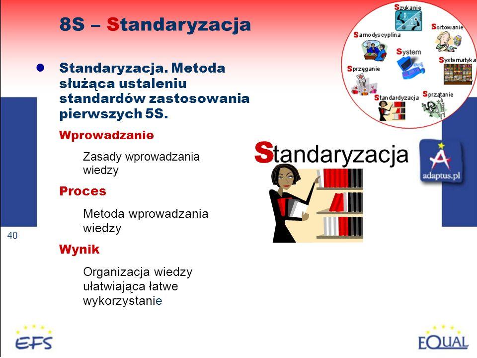 49 Standaryzacja. Metoda służąca ustaleniu standardów zastosowania pierwszych 5S. Wprowadzanie Zasady wprowadzania wiedzy Proces Metoda wprowadzania w