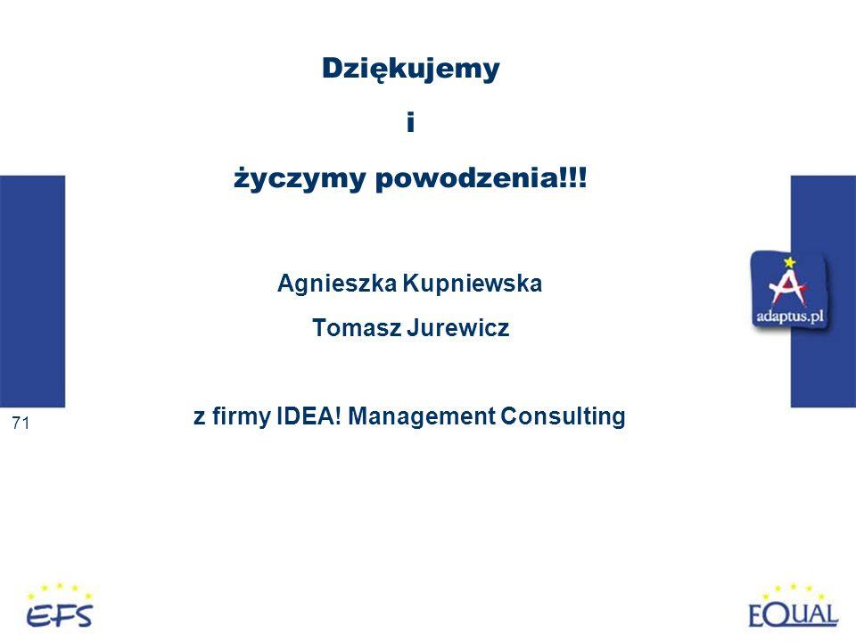 71 Dziękujemy i życzymy powodzenia!!! Agnieszka Kupniewska Tomasz Jurewicz z firmy IDEA! Management Consulting