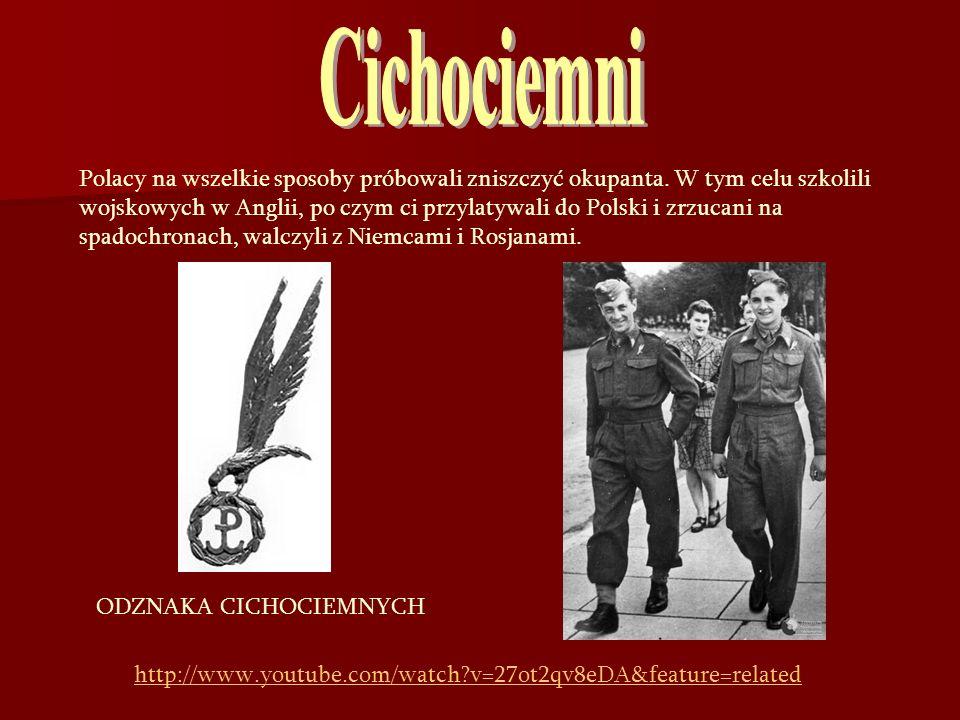 Polacy na wszelkie sposoby próbowali zniszczyć okupanta. W tym celu szkolili wojskowych w Anglii, po czym ci przylatywali do Polski i zrzucani na spad