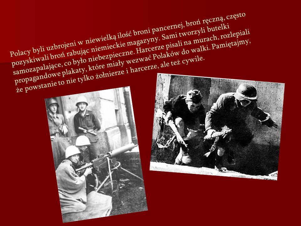 Polacy byli uzbrojeni w niewielką ilość broni pancernej, broń ręczną, często pozyskiwali broń rabując niemieckie magazyny. Sami tworzyli butelki samoz