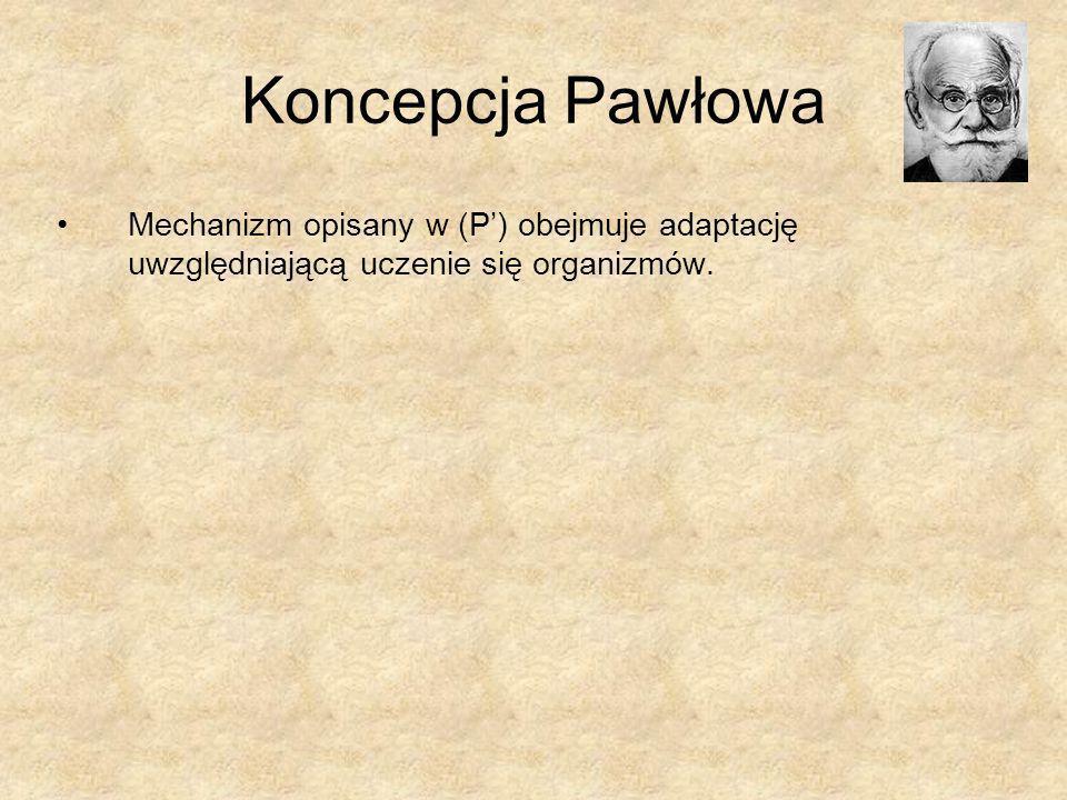 Koncepcja Pawłowa Mechanizm opisany w (P) obejmuje adaptację uwzględniającą uczenie się organizmów.