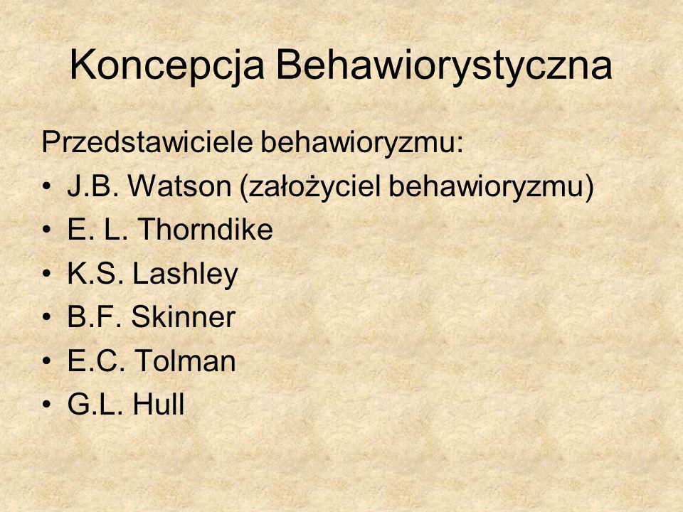 Koncepcja Behawiorystyczna Przedstawiciele behawioryzmu: J.B. Watson (założyciel behawioryzmu) E. L. Thorndike K.S. Lashley B.F. Skinner E.C. Tolman G