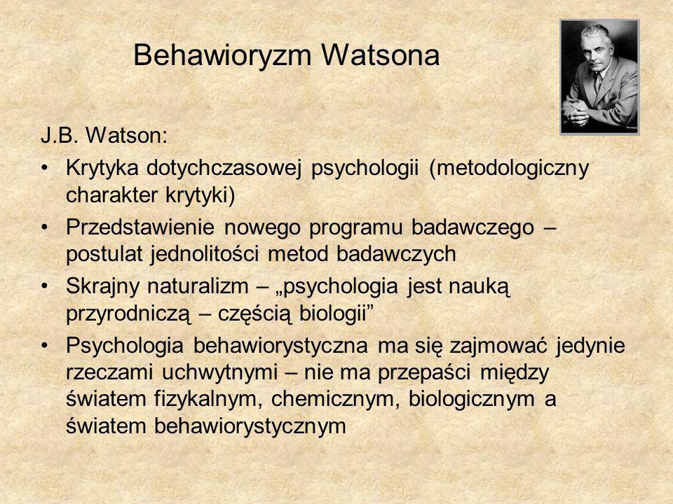 Behawioryzm Watsona J.B. Watson: Krytyka dotychczasowej psychologii (metodologiczny charakter krytyki) Przedstawienie nowego programu badawczego – pos