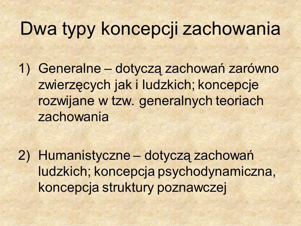 Dwa typy koncepcji zachowania 1)Generalne – dotyczą zachowań zarówno zwierzęcych jak i ludzkich; koncepcje rozwijane w tzw. generalnych teoriach zacho