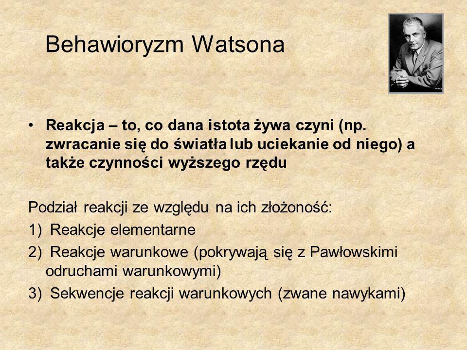 Behawioryzm Watsona Reakcja – to, co dana istota żywa czyni (np. zwracanie się do światła lub uciekanie od niego) a także czynności wyższego rzędu Pod