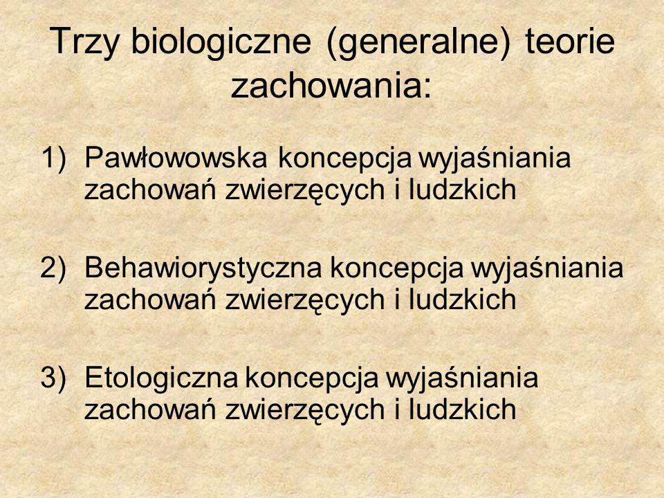 Trzy biologiczne (generalne) teorie zachowania: 1)Pawłowowska koncepcja wyjaśniania zachowań zwierzęcych i ludzkich 2)Behawiorystyczna koncepcja wyjaś