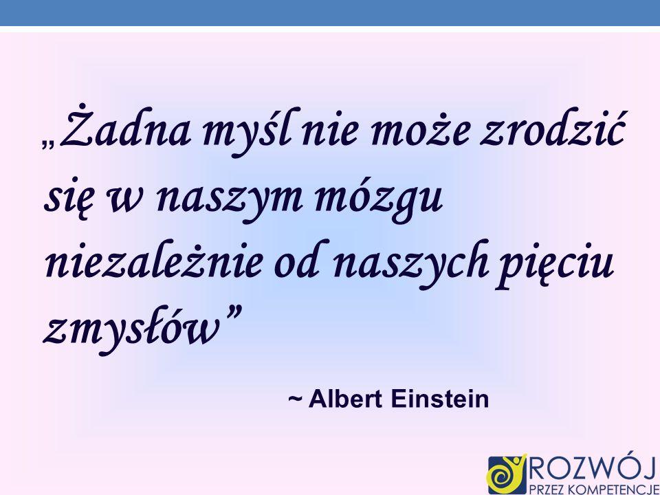 Żadna myśl nie może zrodzić się w naszym mózgu niezależnie od naszych pięciu zmysłów ~ Albert Einstein