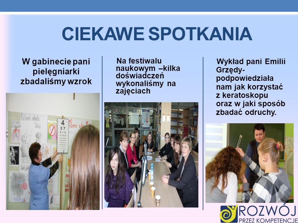 W gabinecie pani pielęgniarki zbadaliśmy wzrok Na festiwalu naukowym –kilka doświadczeń wykonaliśmy na zajęciach Wykład pani Emilii Grzędy- podpowiedz