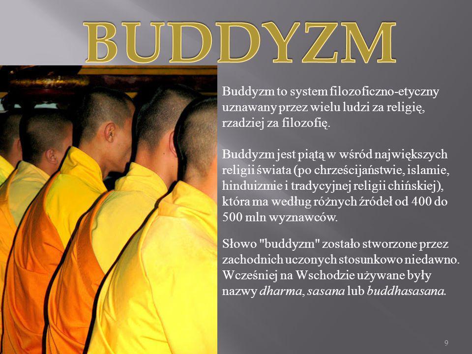 Buddyzm to system filozoficzno-etyczny uznawany przez wielu ludzi za religię, rzadziej za filozofię. Buddyzm jest piątą w wśród największych religii ś
