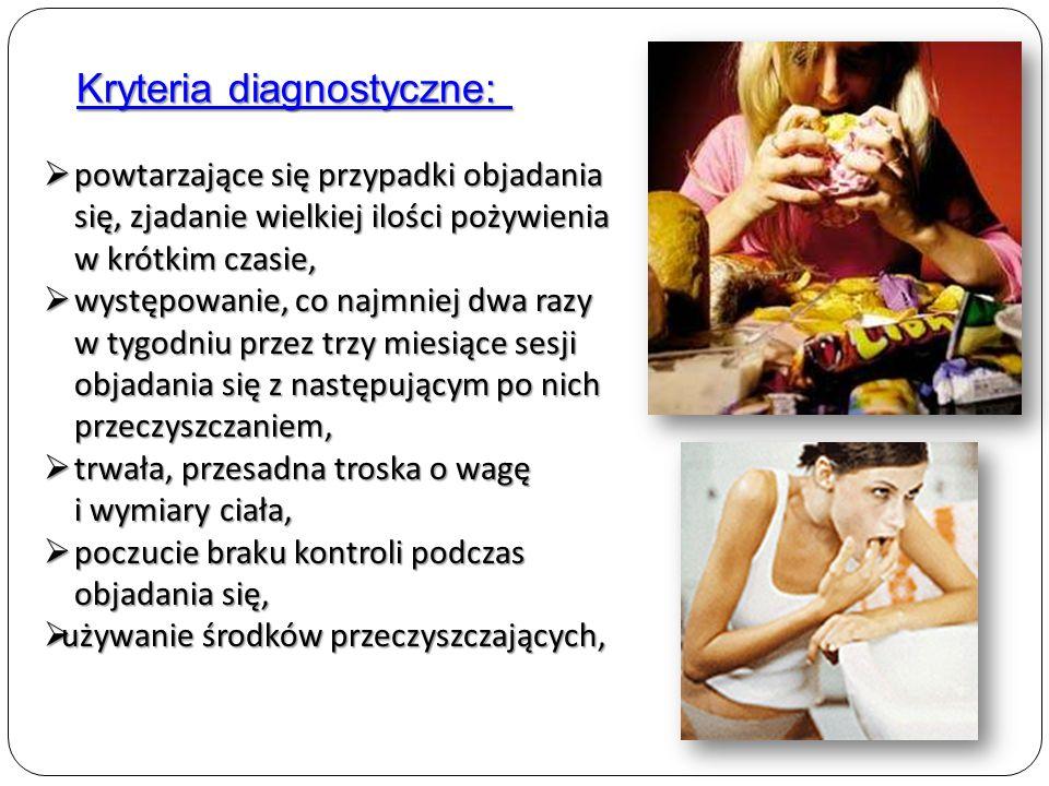 Rozpoznawanie choroby nawracające okresy żarłoczności, nawracające okresy żarłoczności, zjadanie olbrzymich ilości pokarmu w ciągu dnia (w okresie 2 godzin) zjadanie olbrzymich ilości pokarmu w ciągu dnia (w okresie 2 godzin) tracenie kontroli nad swoim zachowaniem w czasie napadu żarłoczności, tracenie kontroli nad swoim zachowaniem w czasie napadu żarłoczności, regularnie stosowanie metody zapobiegające przyrostowi wagi ciała, takie jak: prowokowanie wymiotów, nadużywanie środków przeczyszczających i moczopędnych, ścisła dieta, głodówka lub bardzo wyczerpujące ćwiczenia fizyczne, regularnie stosowanie metody zapobiegające przyrostowi wagi ciała, takie jak: prowokowanie wymiotów, nadużywanie środków przeczyszczających i moczopędnych, ścisła dieta, głodówka lub bardzo wyczerpujące ćwiczenia fizyczne, minimum dwa napady żarłoczności w tygodniu (i stosowanie po nich sposobów prowadzących do zmniejszenia wagi), przez co najmniej trzy miesiące, minimum dwa napady żarłoczności w tygodniu (i stosowanie po nich sposobów prowadzących do zmniejszenia wagi), przez co najmniej trzy miesiące, przesadnie skupianie uwagi na swojej sylwetce i wadze.