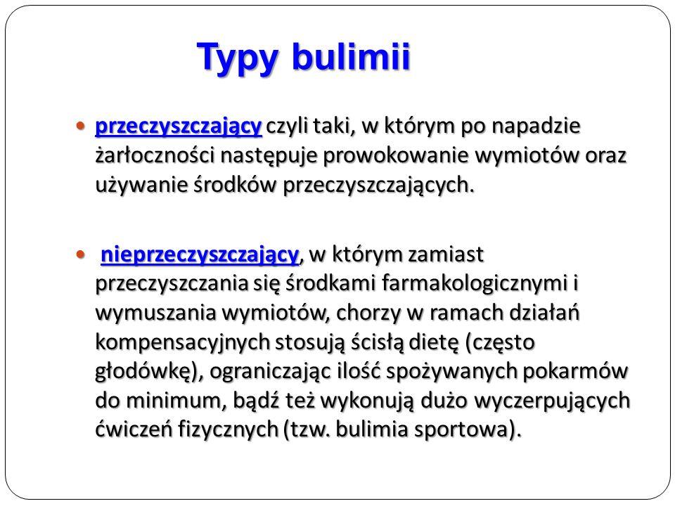 Typy bulimii przeczyszczający czyli taki, w którym po napadzie żarłoczności następuje prowokowanie wymiotów oraz używanie środków przeczyszczających.