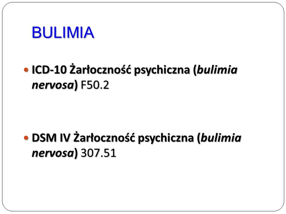 BULIMIA ICD-10 Żarłoczność psychiczna (bulimia nervosa) F50.2 ICD-10 Żarłoczność psychiczna (bulimia nervosa) F50.2 DSM IV Żarłoczność psychiczna (bul