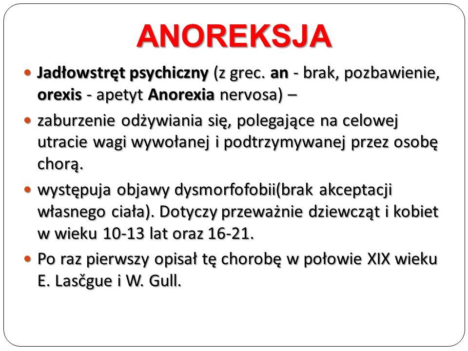 Jadłowstręt psychiczny (z grec. an - brak, pozbawienie, orexis - apetyt Anorexia nervosa) – Jadłowstręt psychiczny (z grec. an - brak, pozbawienie, or