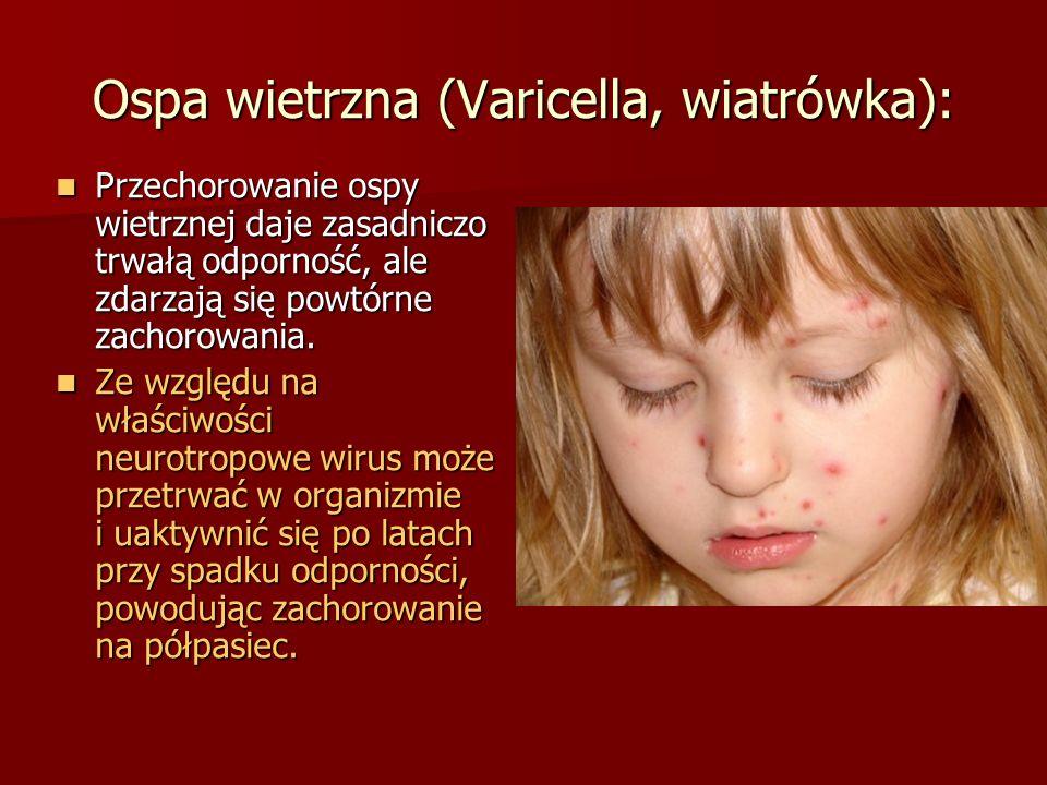 Ospa wietrzna (Varicella, wiatrówka): Przechorowanie ospy wietrznej daje zasadniczo trwałą odporność, ale zdarzają się powtórne zachorowania. Przechor