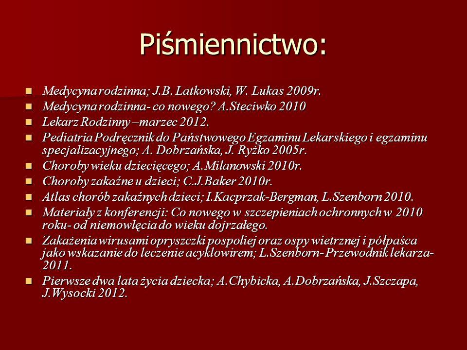 Piśmiennictwo: Medycyna rodzinna; J.B. Latkowski, W. Lukas 2009r. Medycyna rodzinna; J.B. Latkowski, W. Lukas 2009r. Medycyna rodzinna- co nowego? A.S