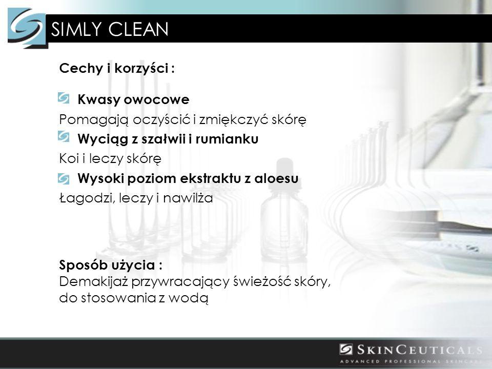 Cechy i korzyści : Kwasy owocowe Pomagają oczyścić i zmiękczyć skórę Wyciąg z szałwii i rumianku Koi i leczy skórę Wysoki poziom ekstraktu z aloesu Łagodzi, leczy i nawilża Sposób użycia : Demakijaż przywracający świeżość skóry, do stosowania z wodą SIMLY CLEAN
