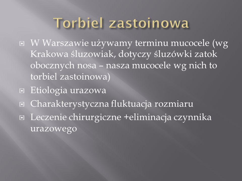 W Warszawie używamy terminu mucocele (wg Krakowa śluzowiak, dotyczy śluzówki zatok obocznych nosa – nasza mucocele wg nich to torbiel zastoinowa) Etio